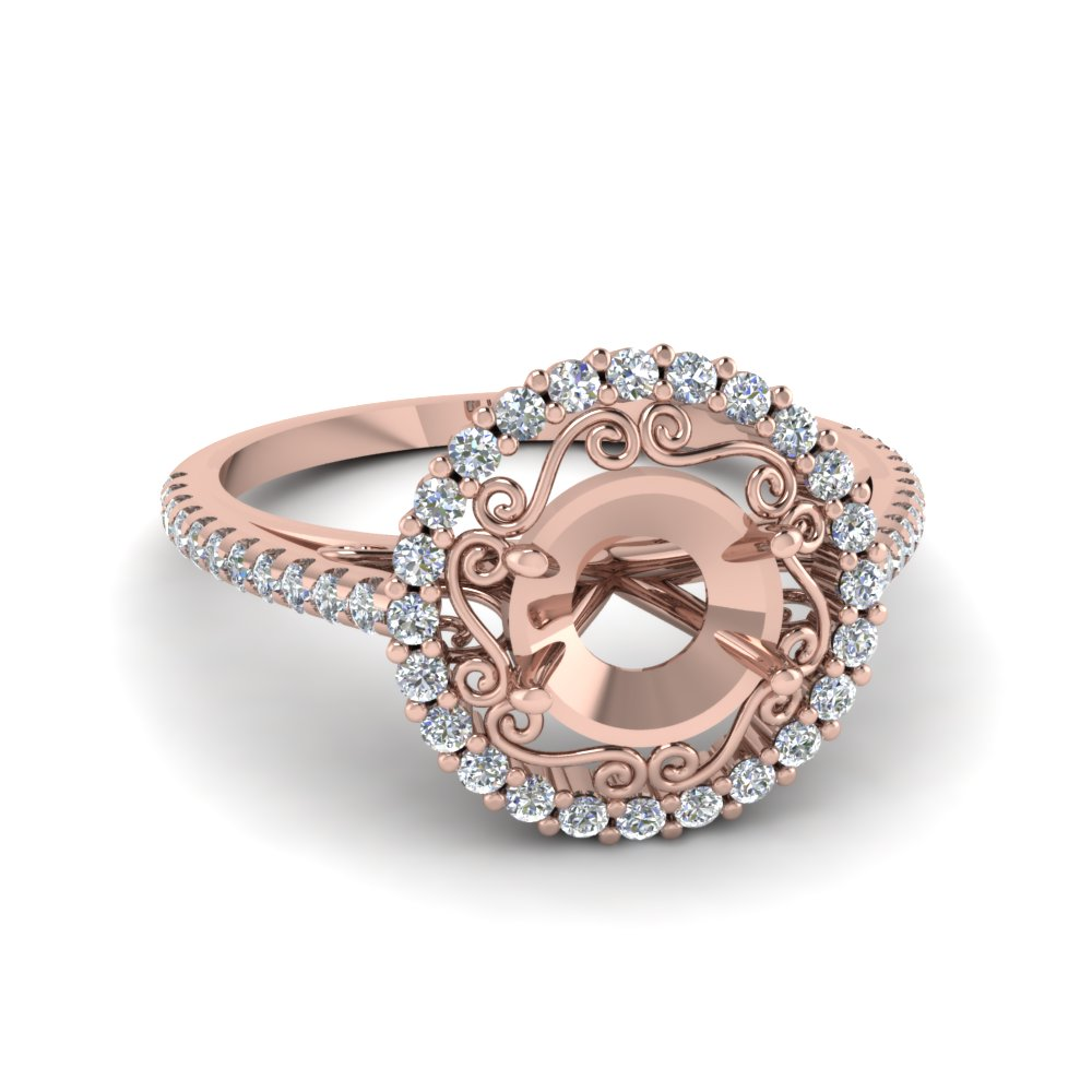 semi mount filigree halo diamond ring in FD68924SMR NL RG