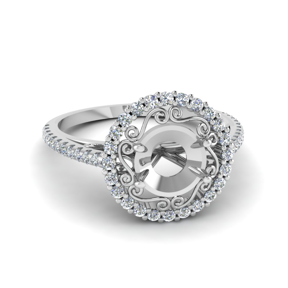 filigree halo diamond semi mount engagement ring in FD68924SMR NL WG