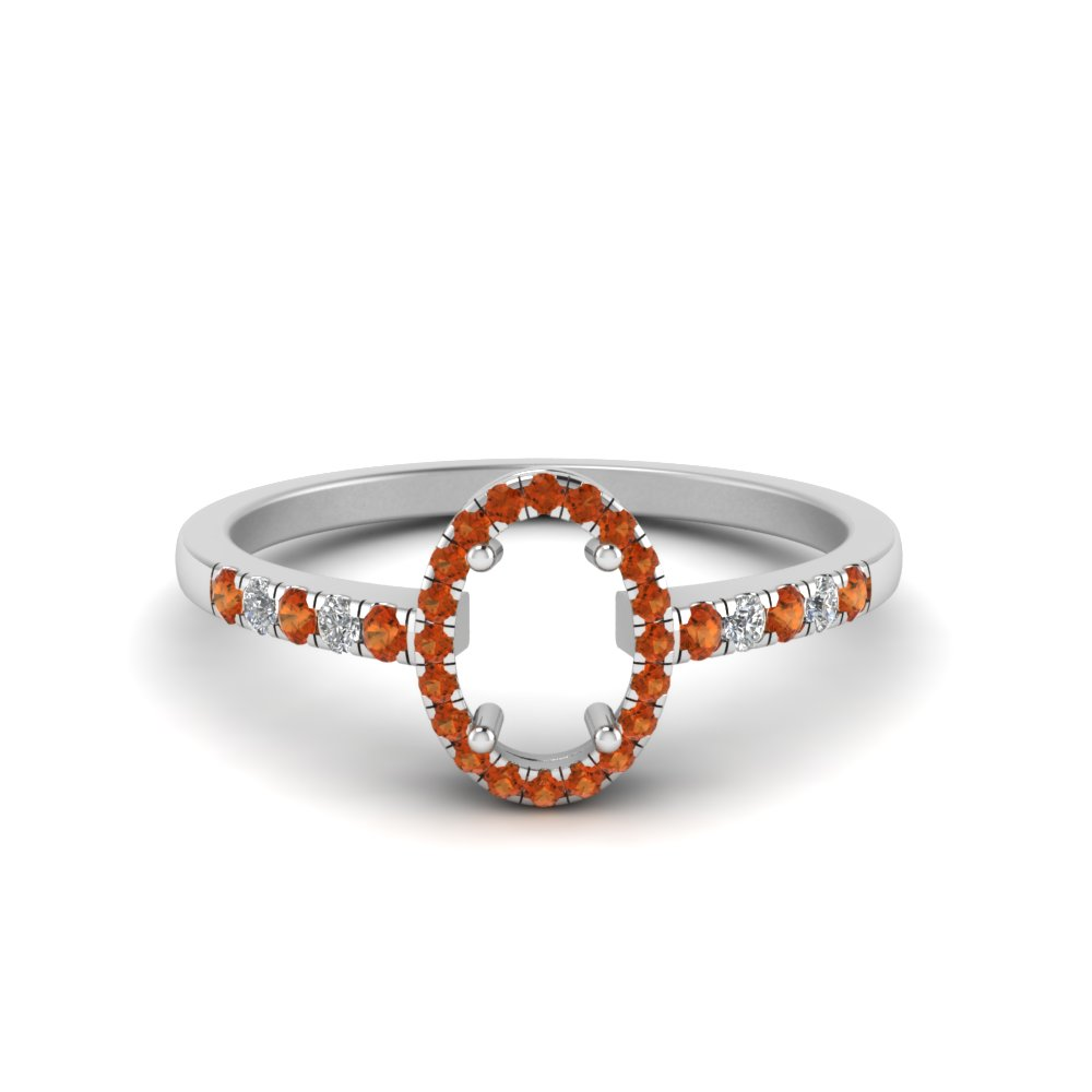semi mount halo diamond delicate engagement ring with orange sapphire in FDENR495SMRGSAOR NL WG