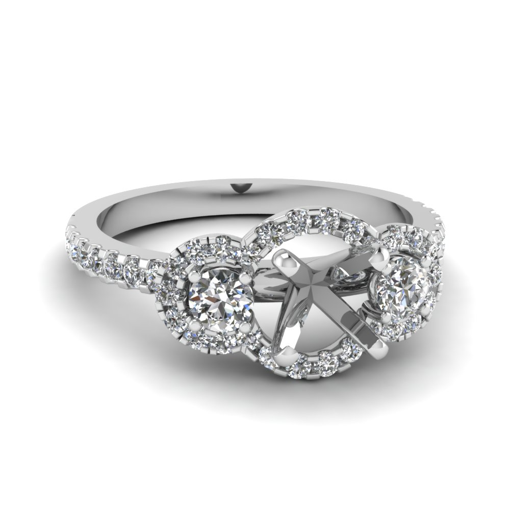 delicate semi mount 3 stone halo diamond engagement ring in FDENS3179SMR NL WG