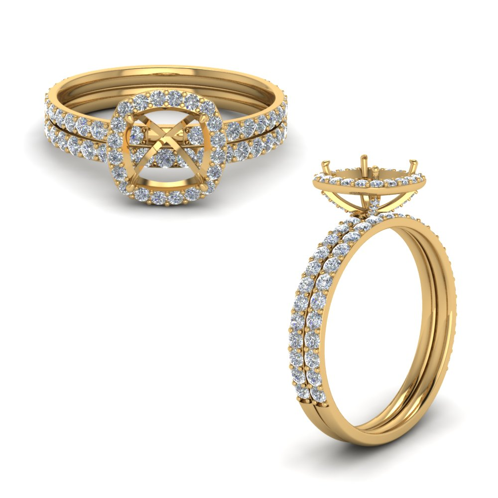 Semi Mount Diamond Halo Ring Set