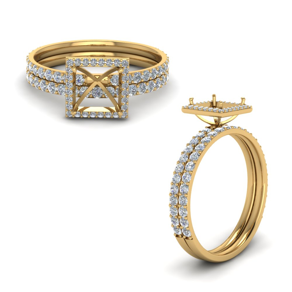 Semi Mount Halo Wedding Set