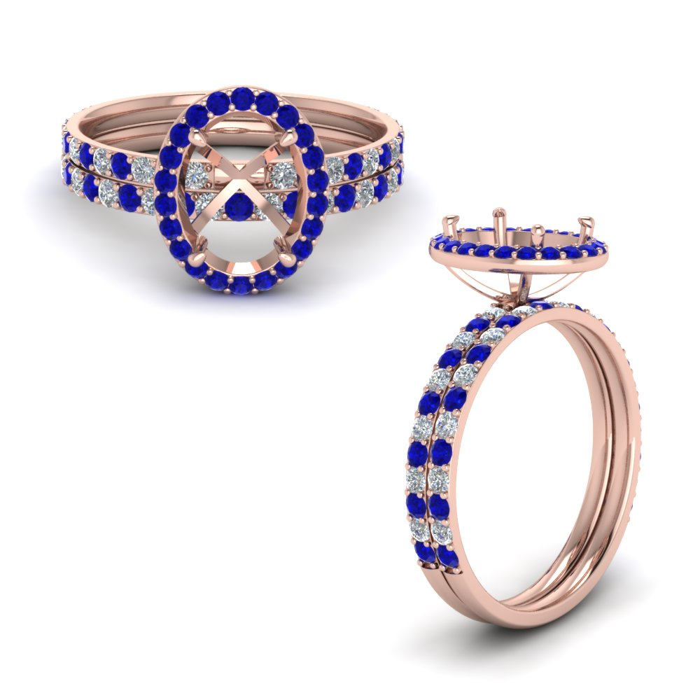 semi mount halo diamond wedding set with sapphire in 14K rose gold FD8490SMGSABLANGLE1 NL RG