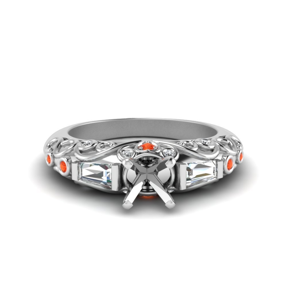 semi mount hand engraved diamond engagement ring with orange topaz in FD62283SMRGPOTO NL WG