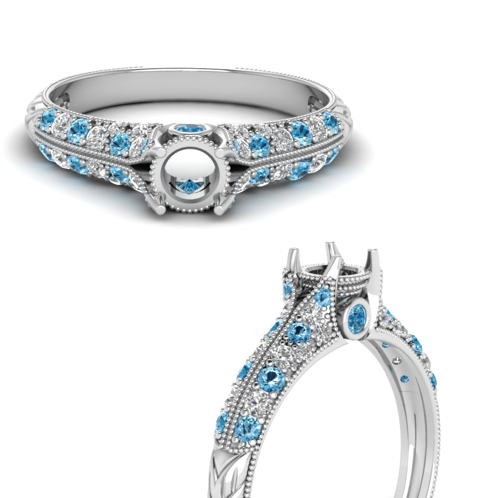 semi mount high setting vintage diamond engagement ring with blue topaz in FDENR6253SMRGICBLTOANGLE3 NL WG.jpg
