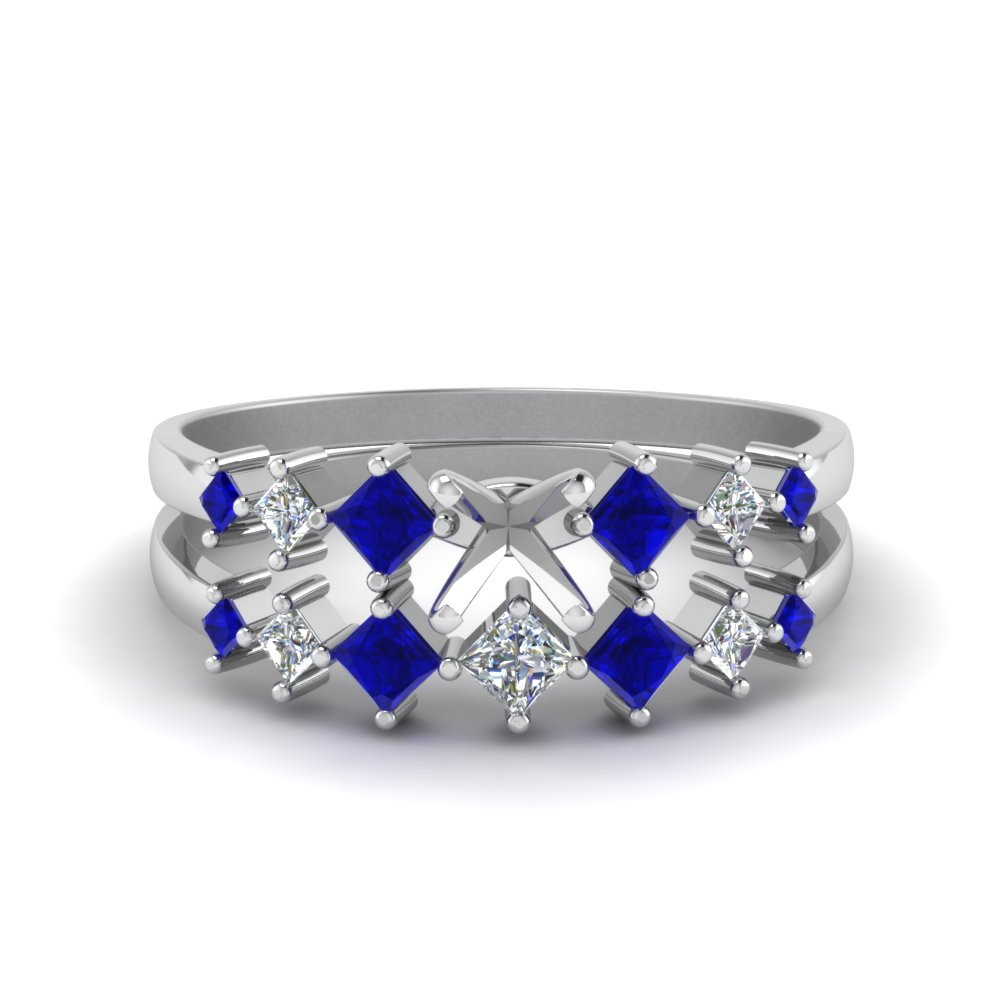 semi mount kite set diamond bridal set with blue sapphire in FDENS3126SMGSABL NL WG