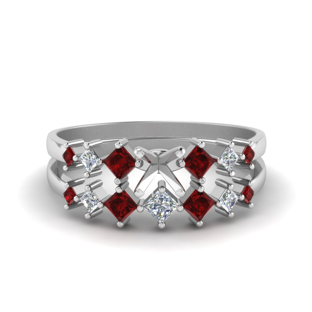 semi mount kite set diamond bridal set with ruby in 14K white gold FDENS3126SMGRUDR NL WG