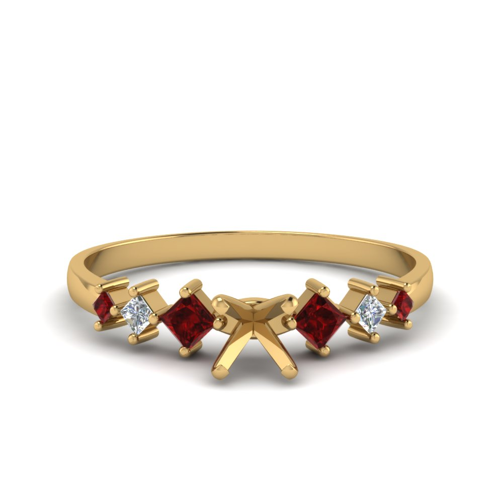 semi mount kite set diamond ring with ruby in 14K yellow gold FDENS3126SMRGRUDR NL YG