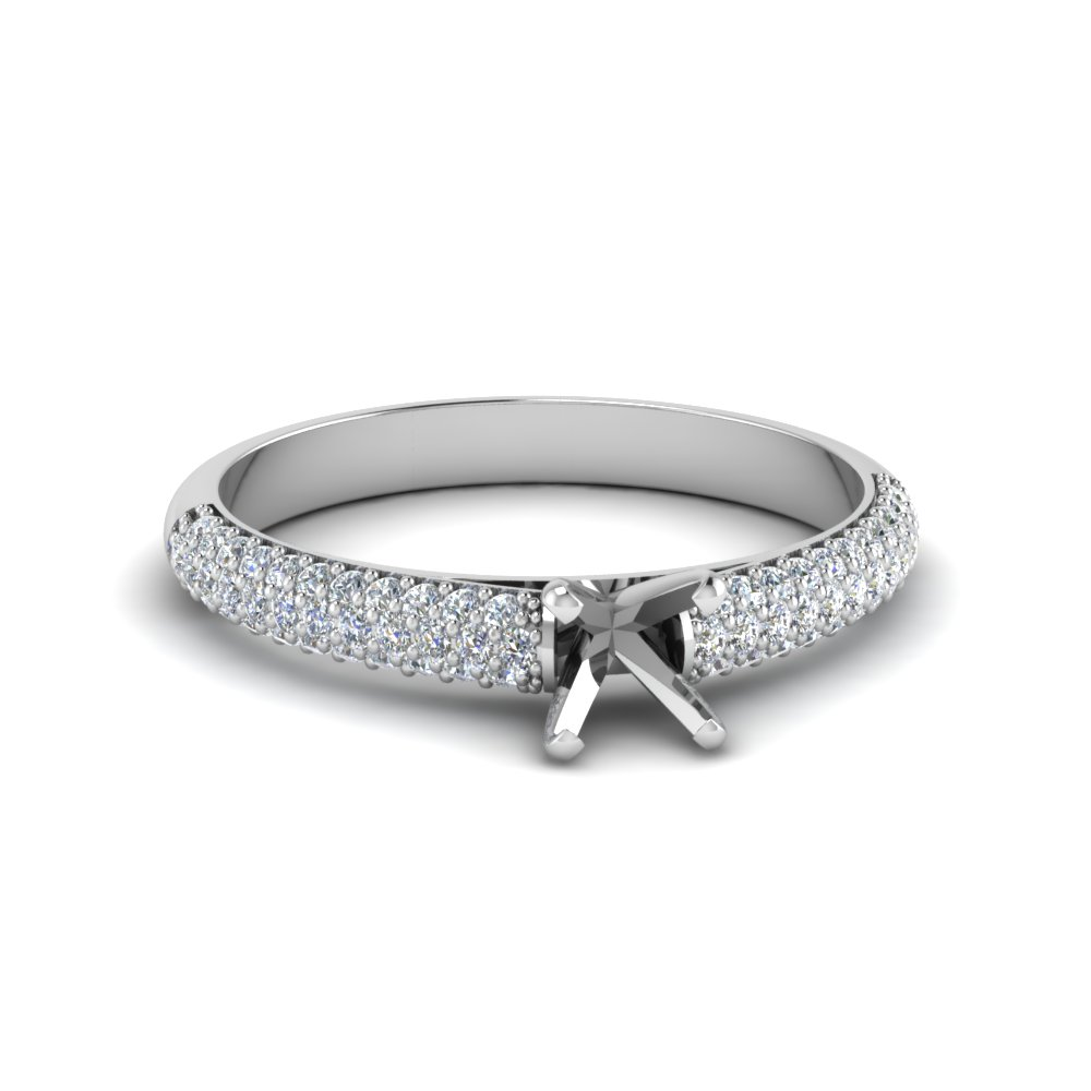 Micropave Natural Diamond Ring Setting