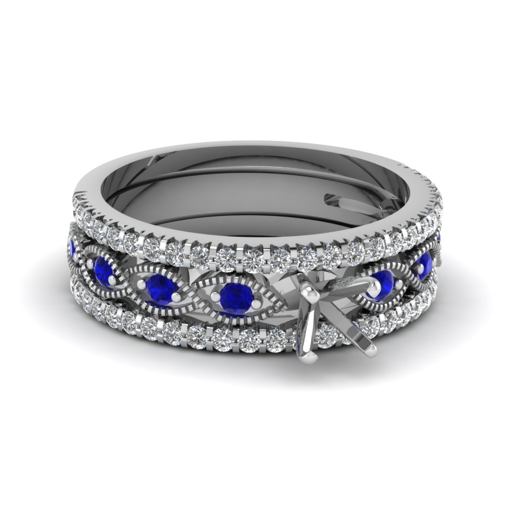 semi mount milgrain diamond trio bridal sets with blue sapphire in 950 Platinum FD8037TSMGSABL NL WG