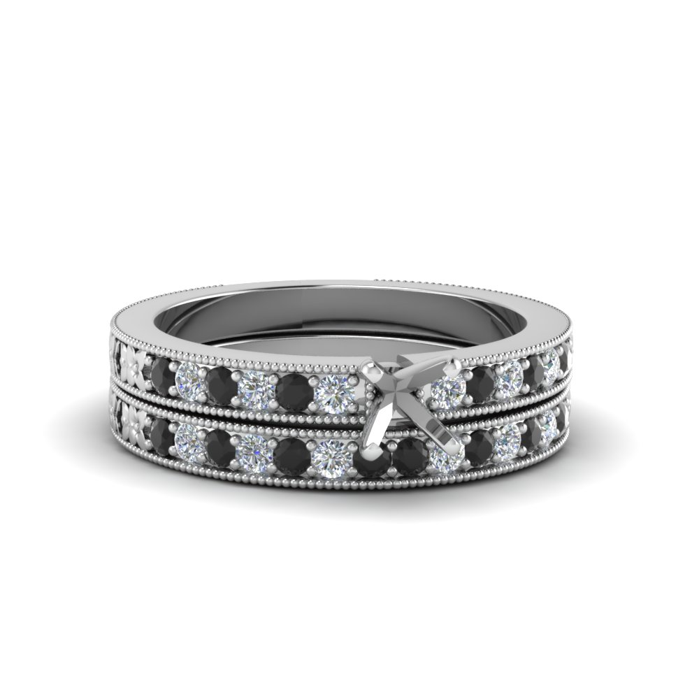 semi mount milgrain pave bridal set with black diamond in FDENS3516SMGBLACK NL WG