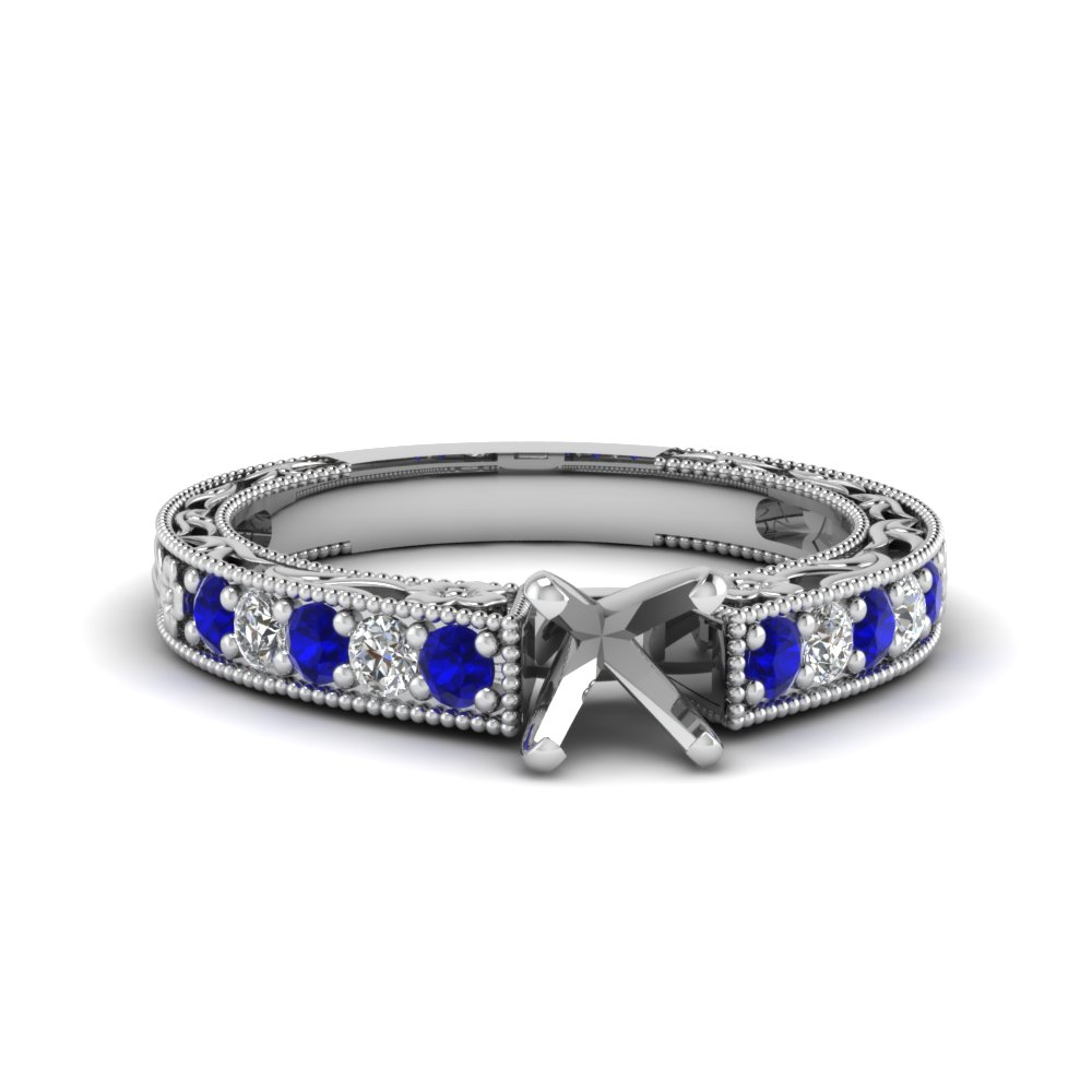 semi mount milgrain pave diamond engagement ring with sapphire in FDENS3506SMRGSABL NL WG