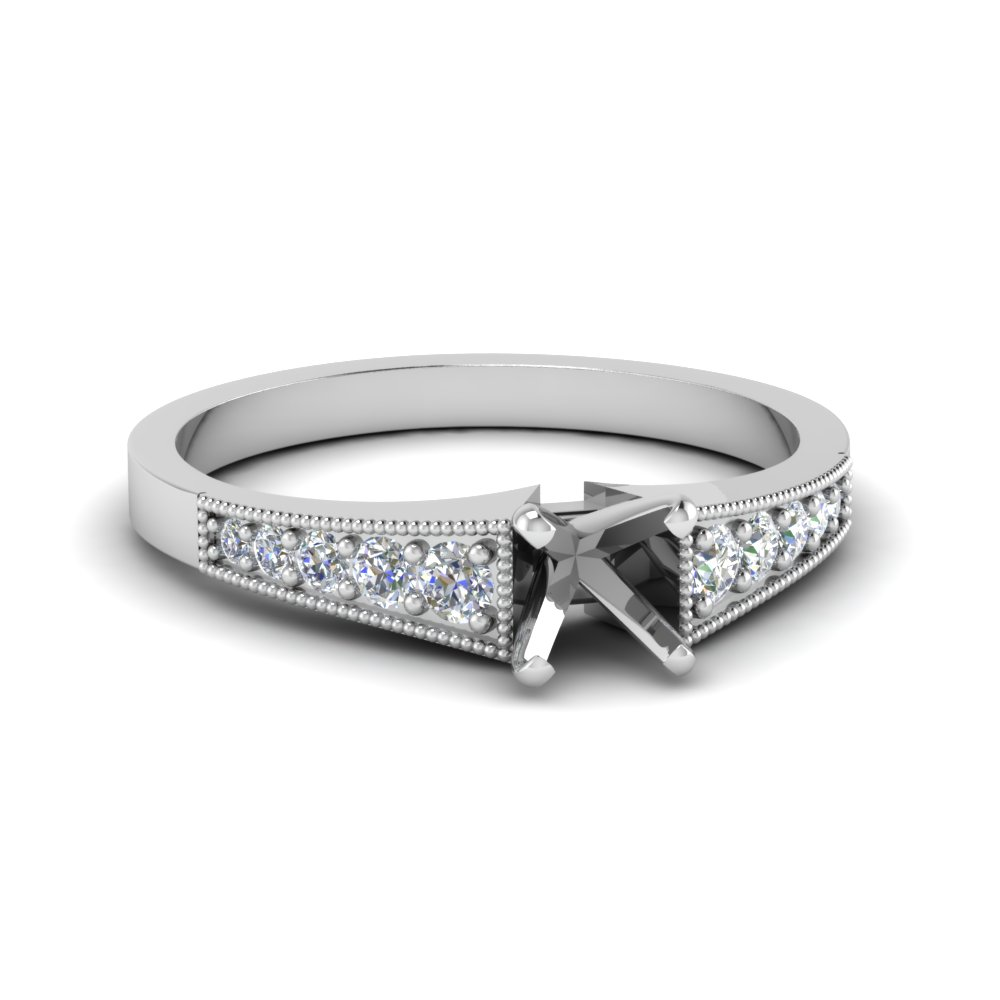 Milgrain Platinum Ring Without Diamond