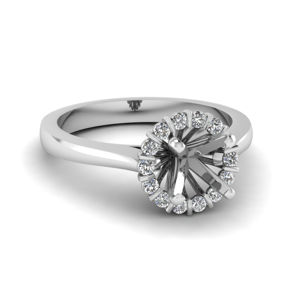 floating floral halo semi mount diamond engagement ring in FDENS3172SMR NL WG