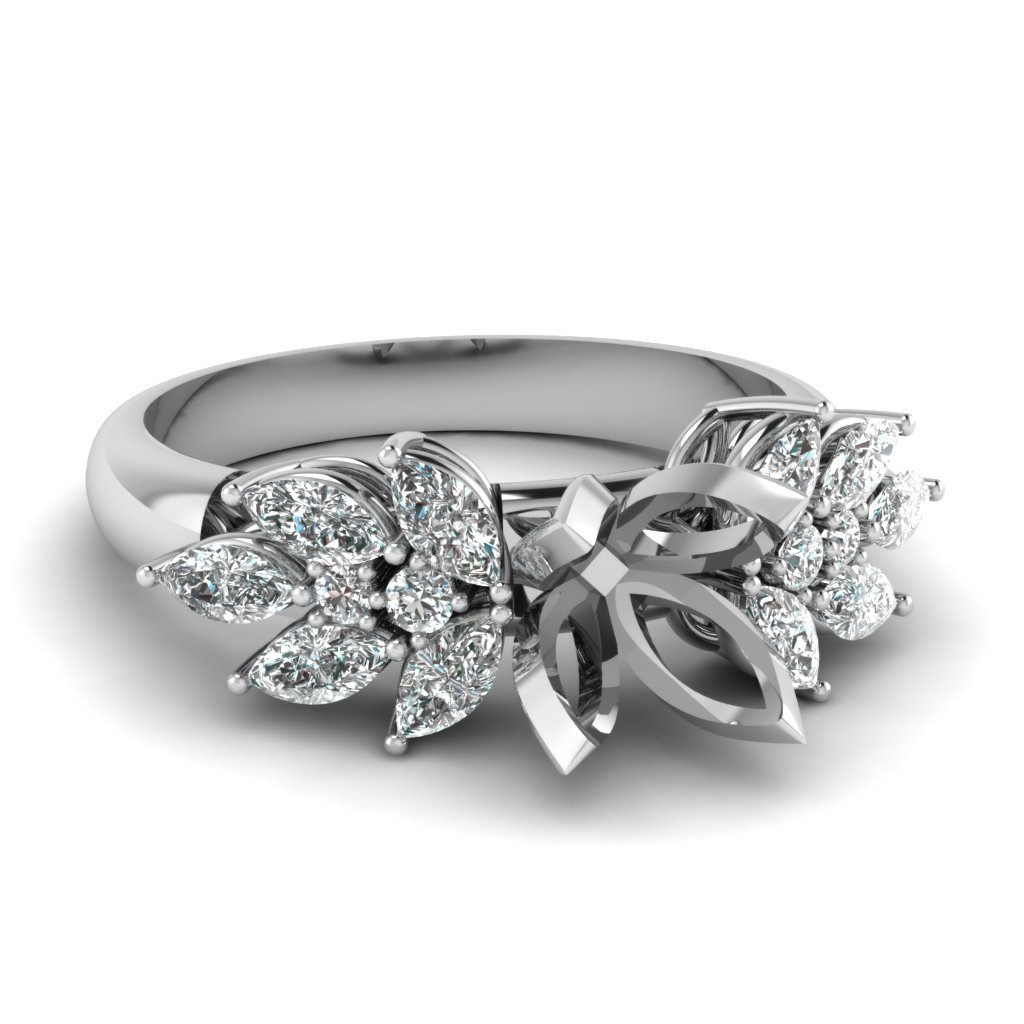 diamond marquise nature inspired engagement ring in FD12655SMR NL WG