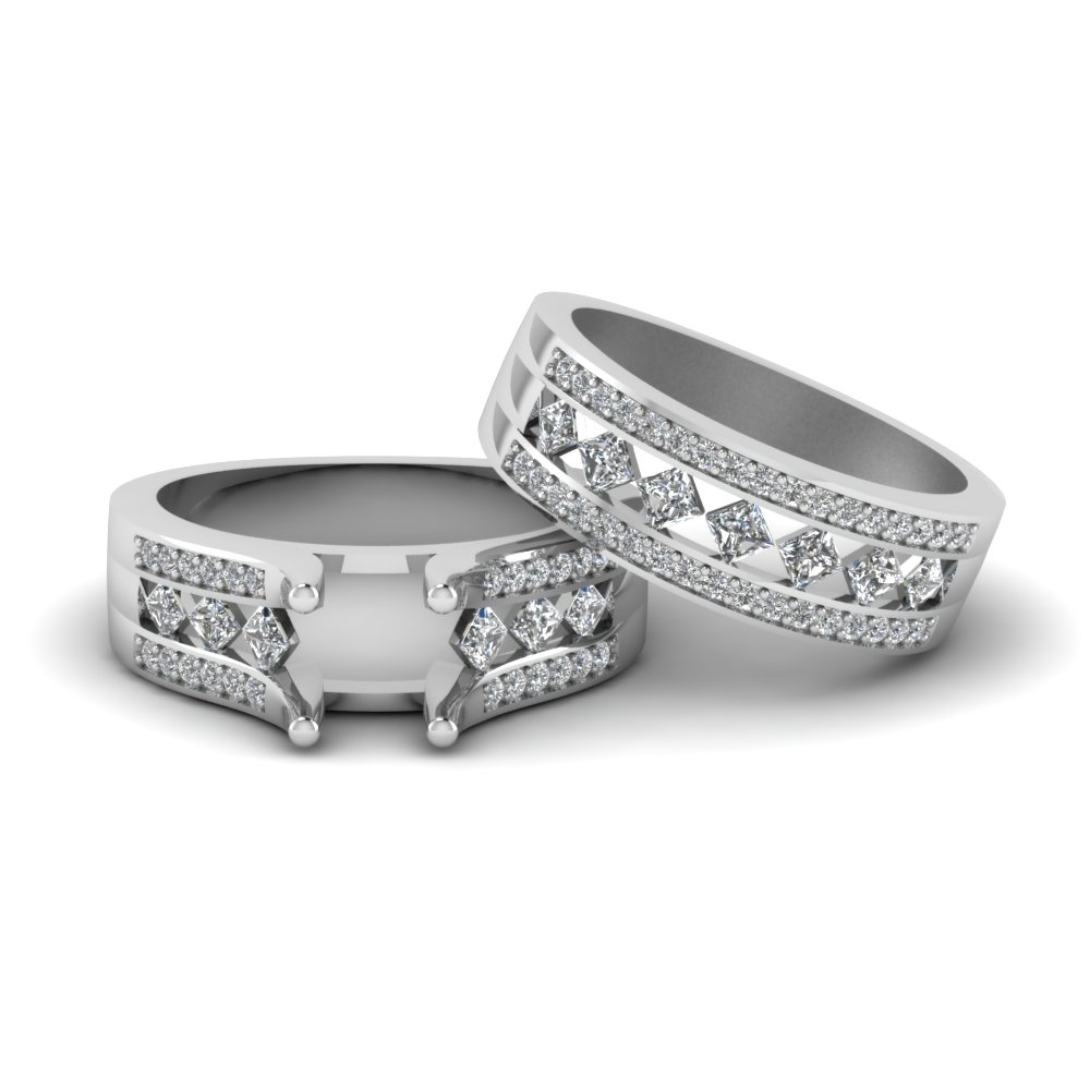 semi mount pave and kite set diamond bridal set in 950 platinum FDENS1149SM NL WG