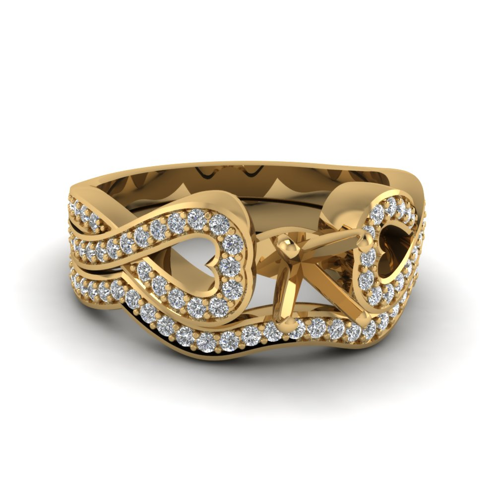 Entwined Diamond Semi Mount Wedding Ring Set In 14K Yellow Gold
