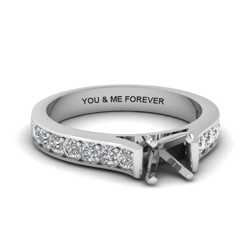 Platinum Semi Mount Pave Ring