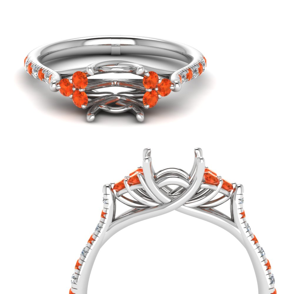 Platinum Orange Topaz Ring Setting