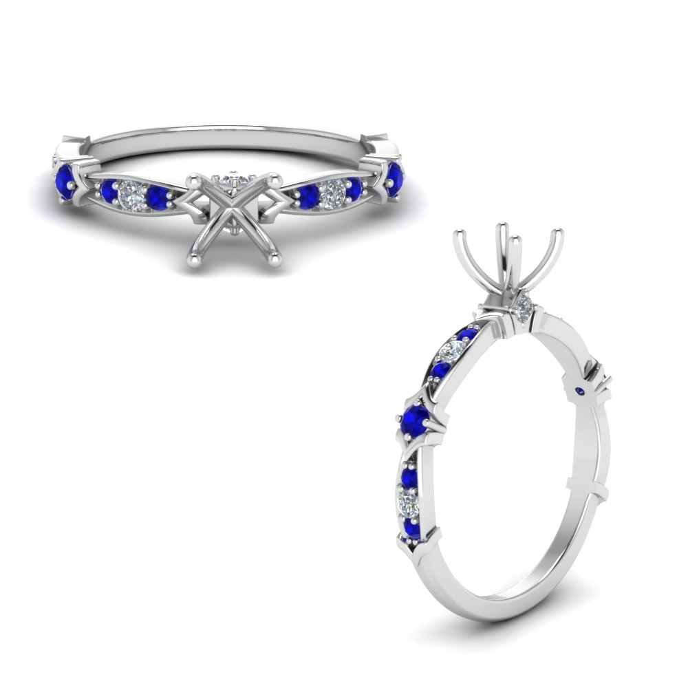 Petite Pave Diamond Semi Mount Engagement Ring With Sapphire In 14K White Gold