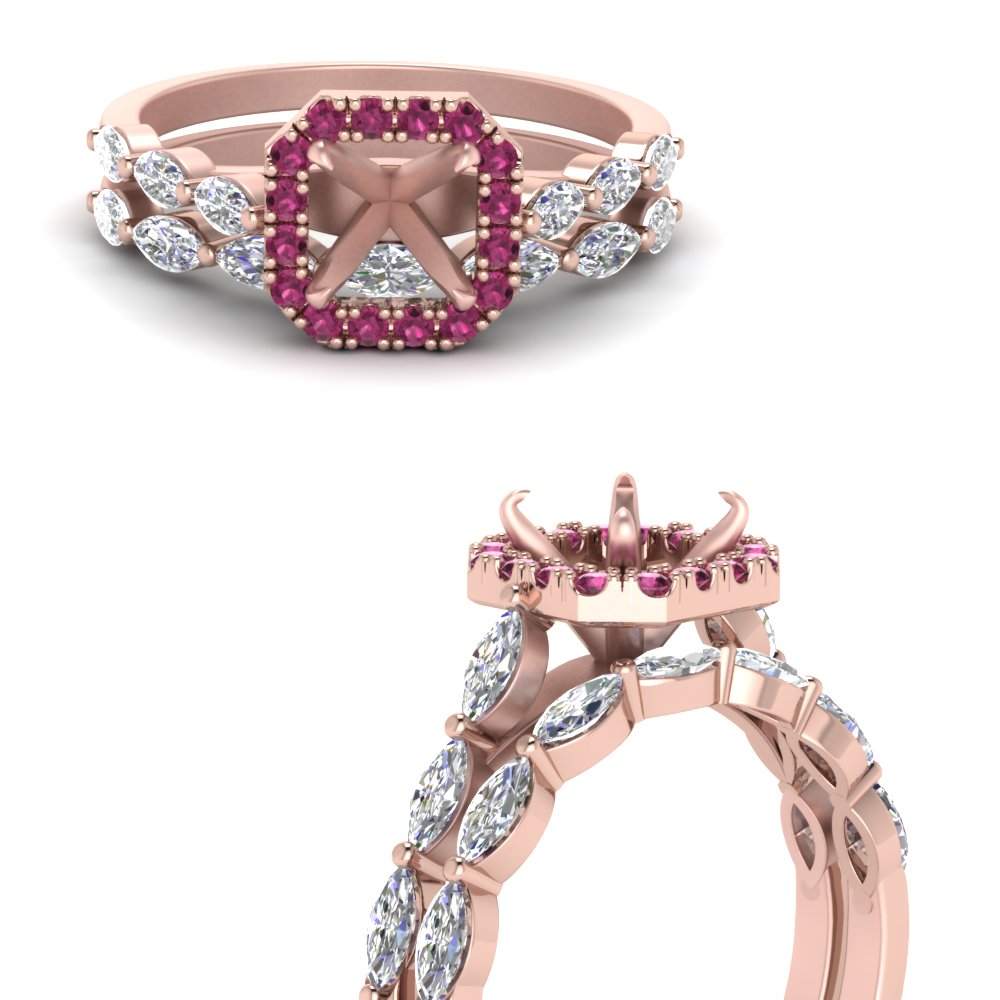 semi mount pink sapphire halo petite wedding ring set with marquise in 14K rose gold FDENS3162SMGSADRPIANGLE3 NL RG