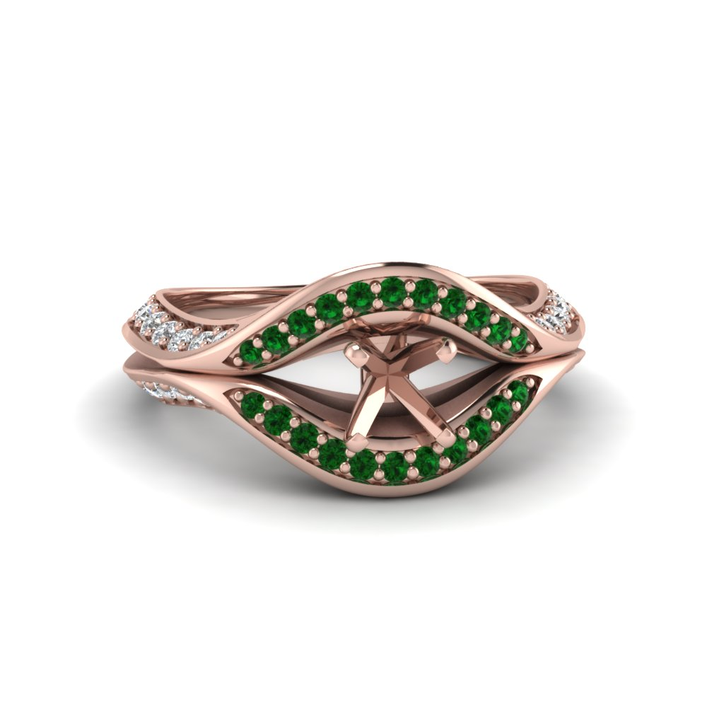 semi mount split crossover halo diamond engagement ring with emerald in FDENS3165SMRGEMGR NL RG