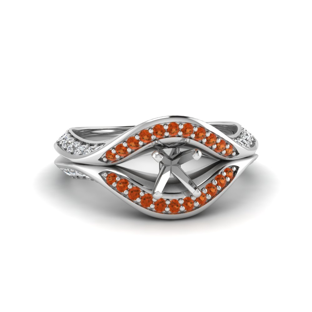 semi mount split crossover halo diamond engagement ring with orange sapphire in FDENS3165SMRGSAOR NL WG