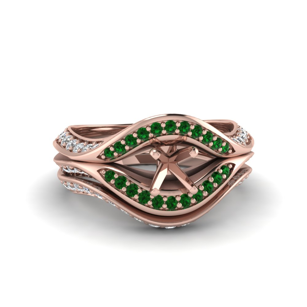 semi mount split crossover halo diamond wedding set with emerald in FDENS3165SMGEMGR NL RG