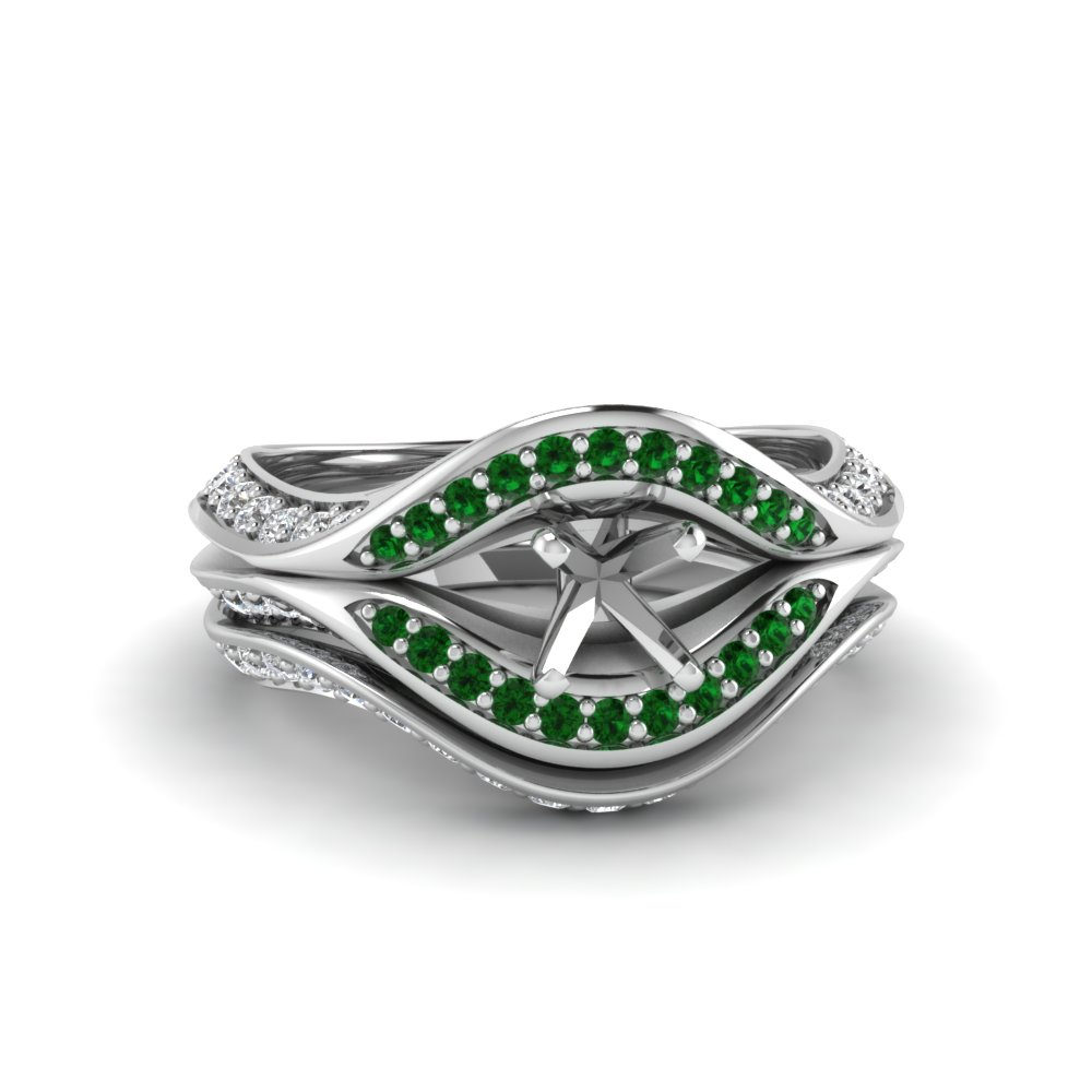 semi mount split crossover halo diamond wedding set with emerald in FDENS3165SMGEMGR NL WG