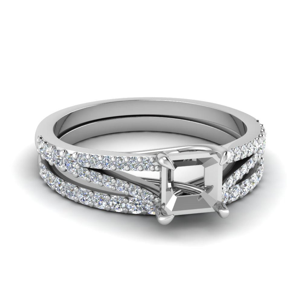 Platinum Semi Mount Split Shank Ring Set