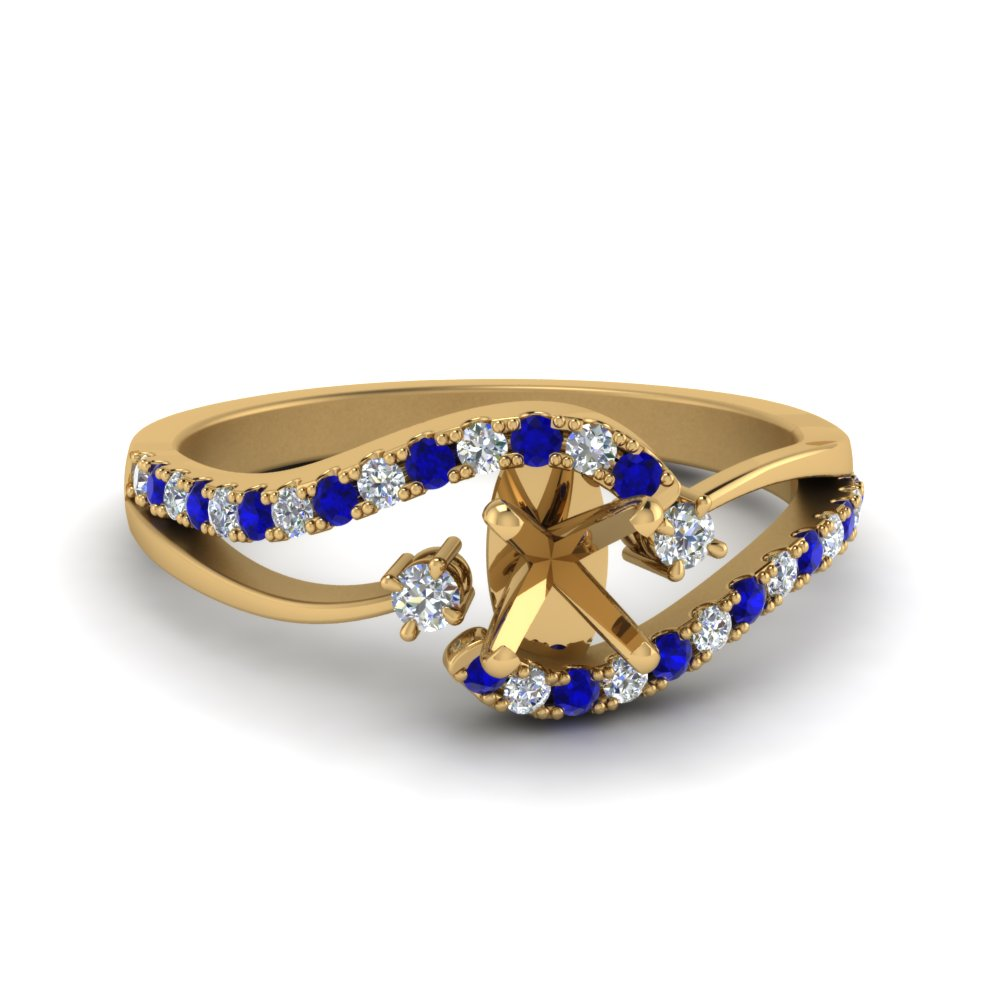 semi mount swirl 3 stone diamond engagement ring with sapphire in 14K yellow gold FDO50895SMRGSABL NL YG