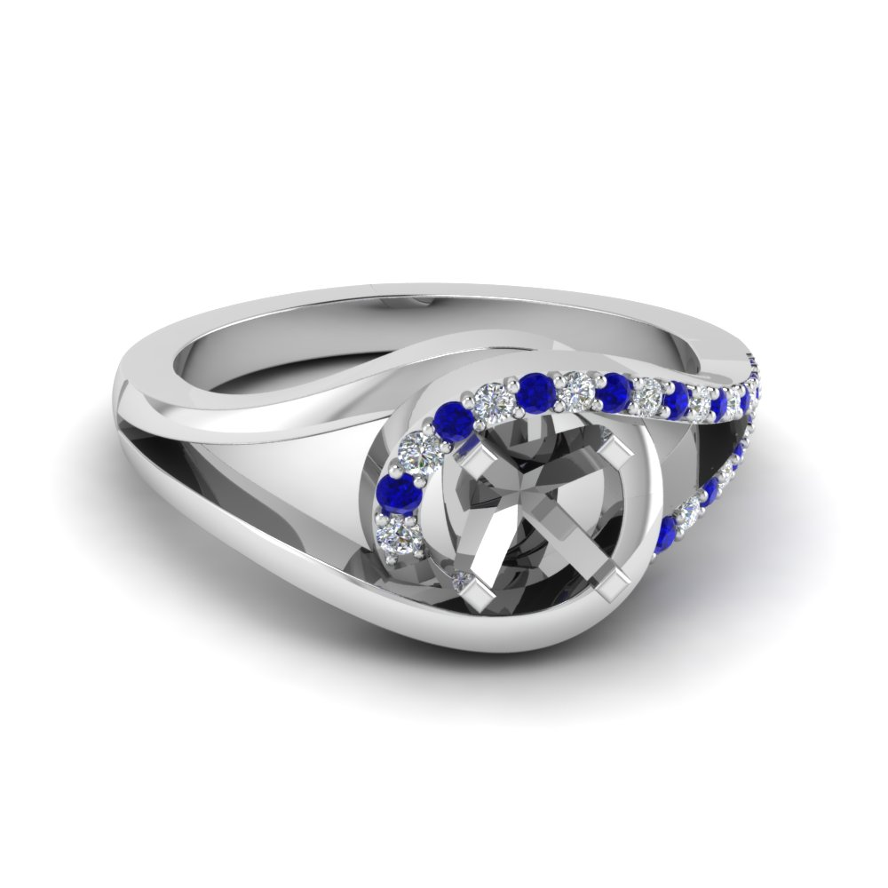 semi mount swirl diamond split shank engagement ring for women with blue sapphire in 14K white gold FD8027SMRGSABL NL WG