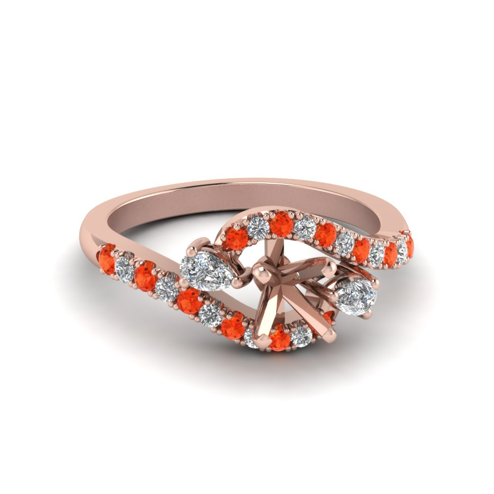 Semi Mount Orange Topaz Ring