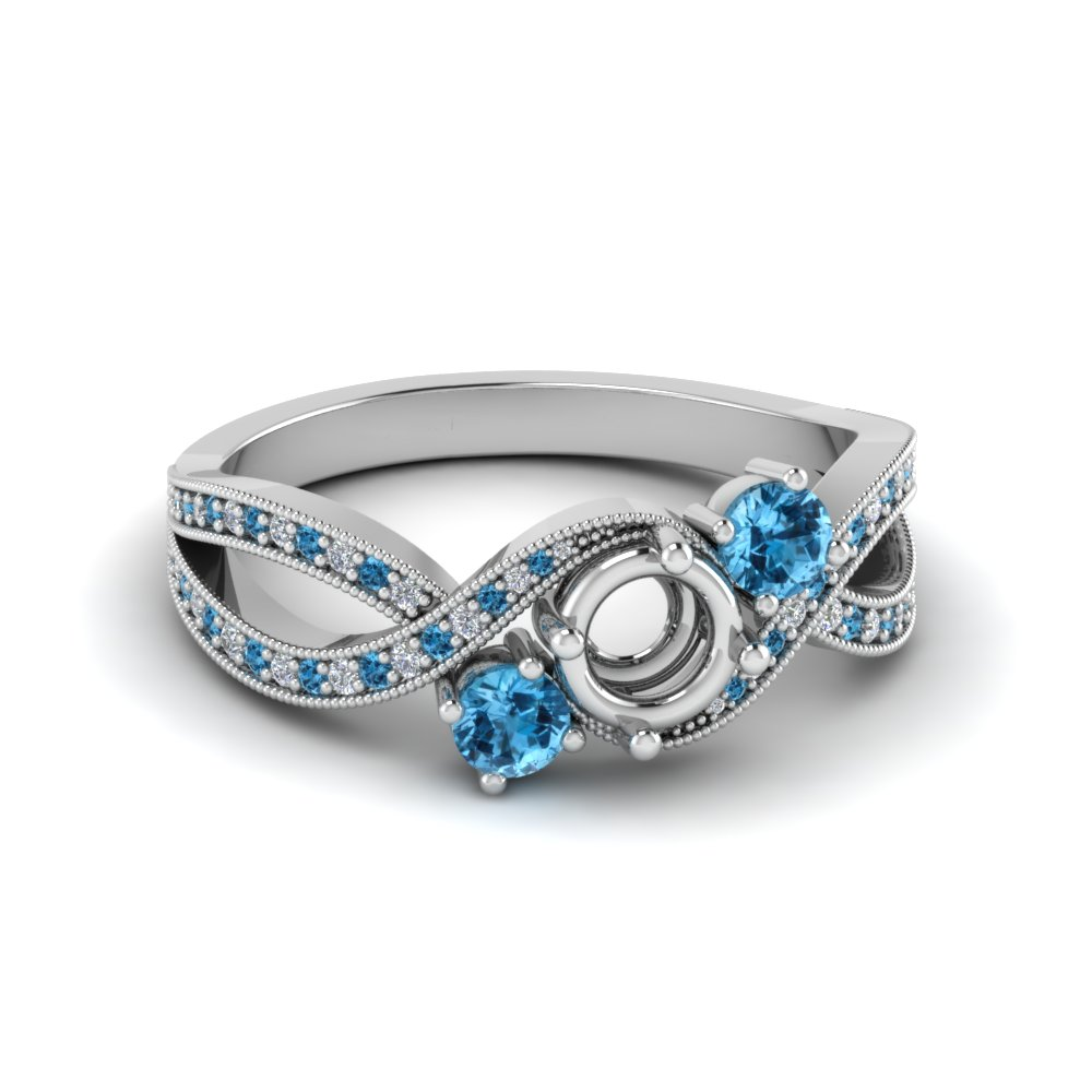 2dd270c70 semi mount milgrain three stone pave diamond engagement ring with blue  topaz in FD8101SMRGICBLTO NL WG