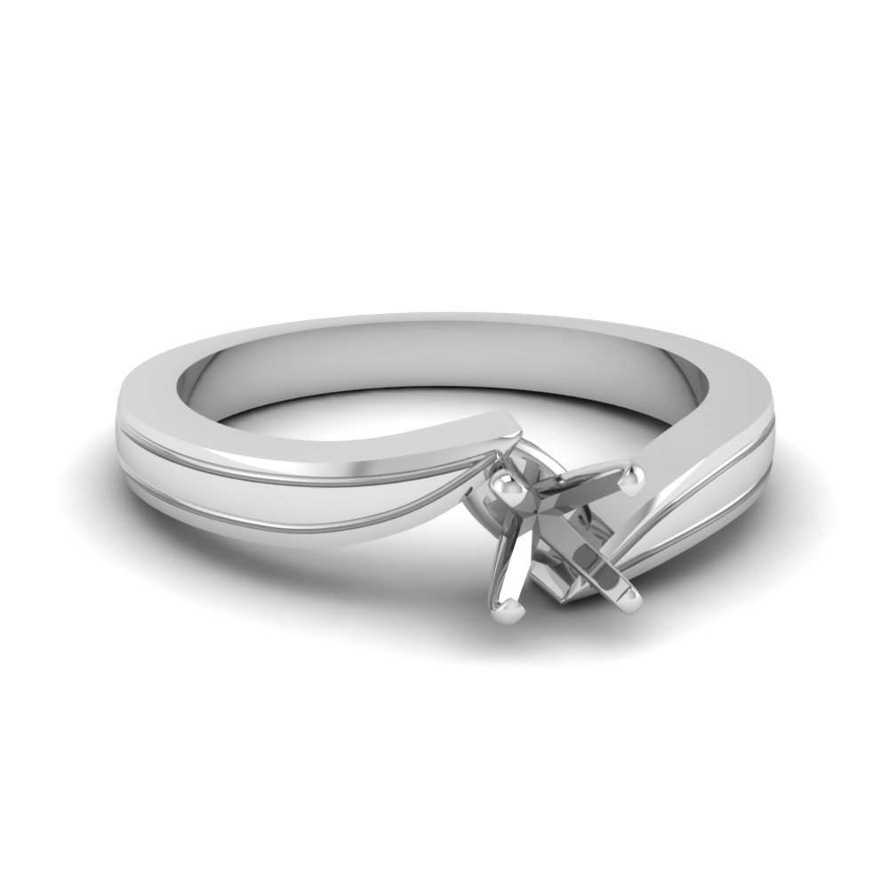 semi mount twirl solitaire twisted solitaire engagement ring in 14K white gold FDENR6677SMR NL WG
