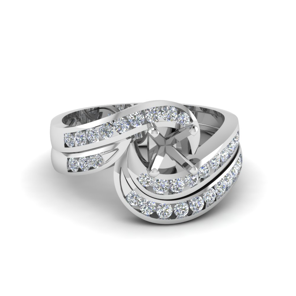 semi mount twist channel set diamond wedding ring sets in 14K white gold FDENS594SM NL WG