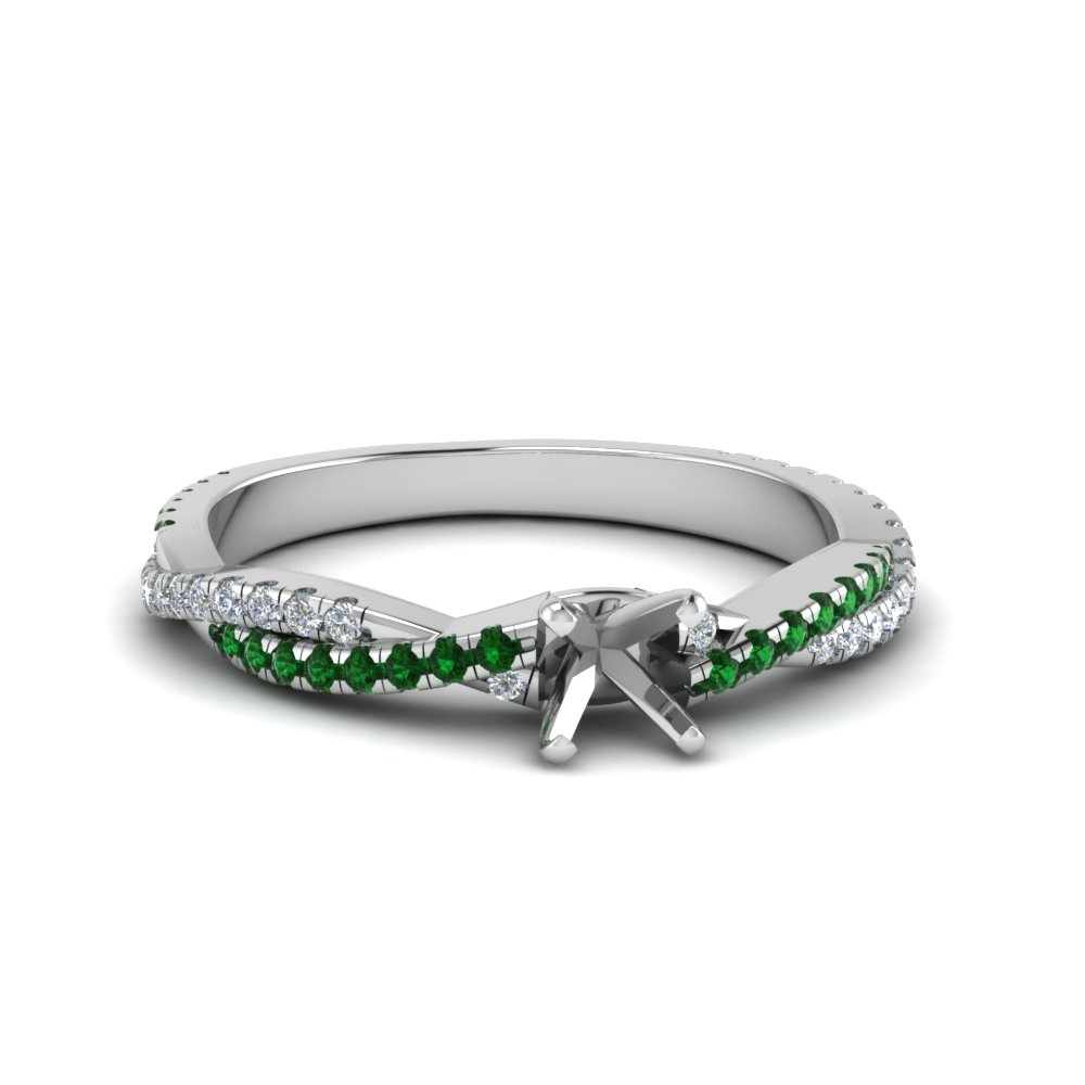 semi mount twisted vine diamond engagement ring for women with emerald in 14K white gold FD8233SMRGEMGR NL WG
