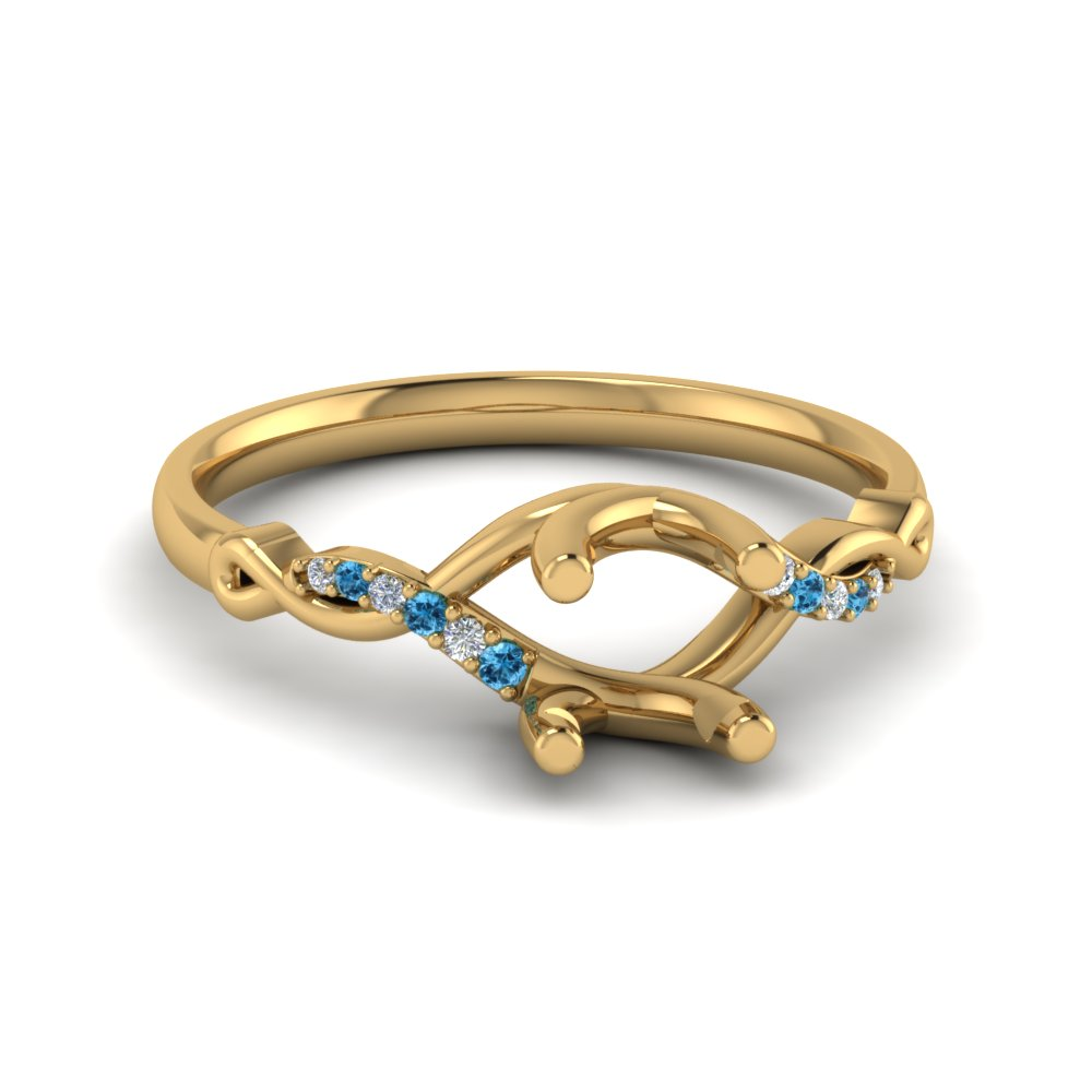 Round U Prong Twisted Diamond Split Shank Engagement Ring With Ice Blue Topaz In 14K Yellow Gold