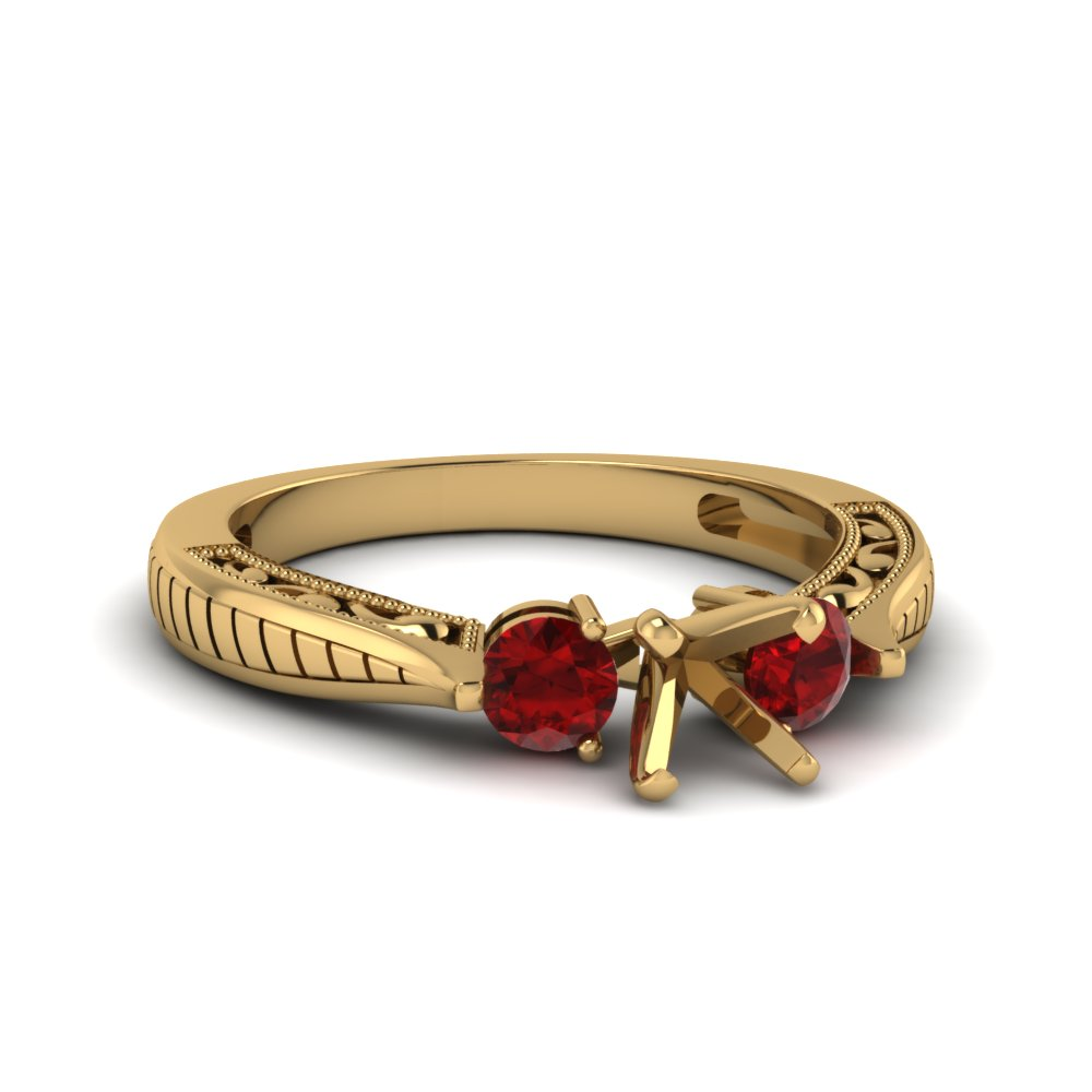 semi mount vintage style three stone engagement ring with ruby in 14K yellow gold FDENR1814SMRGRUDR NL YG