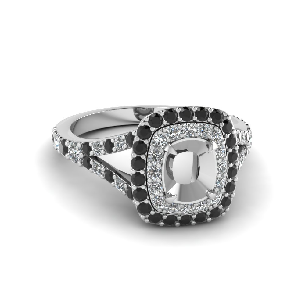 Platinum Semi Mount Double Halo Ring