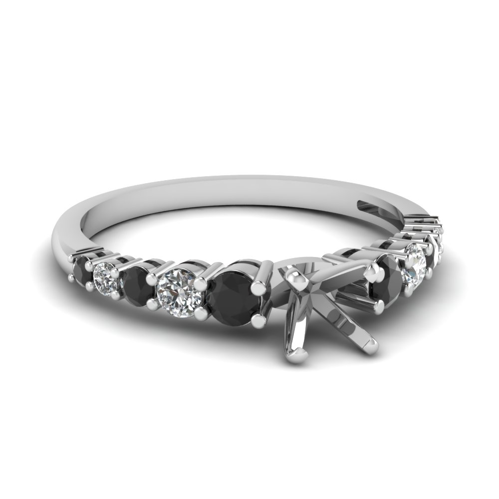 graduated semi mount engagement ring with black diamond in FDENS3056SMRGBLACK NL WG