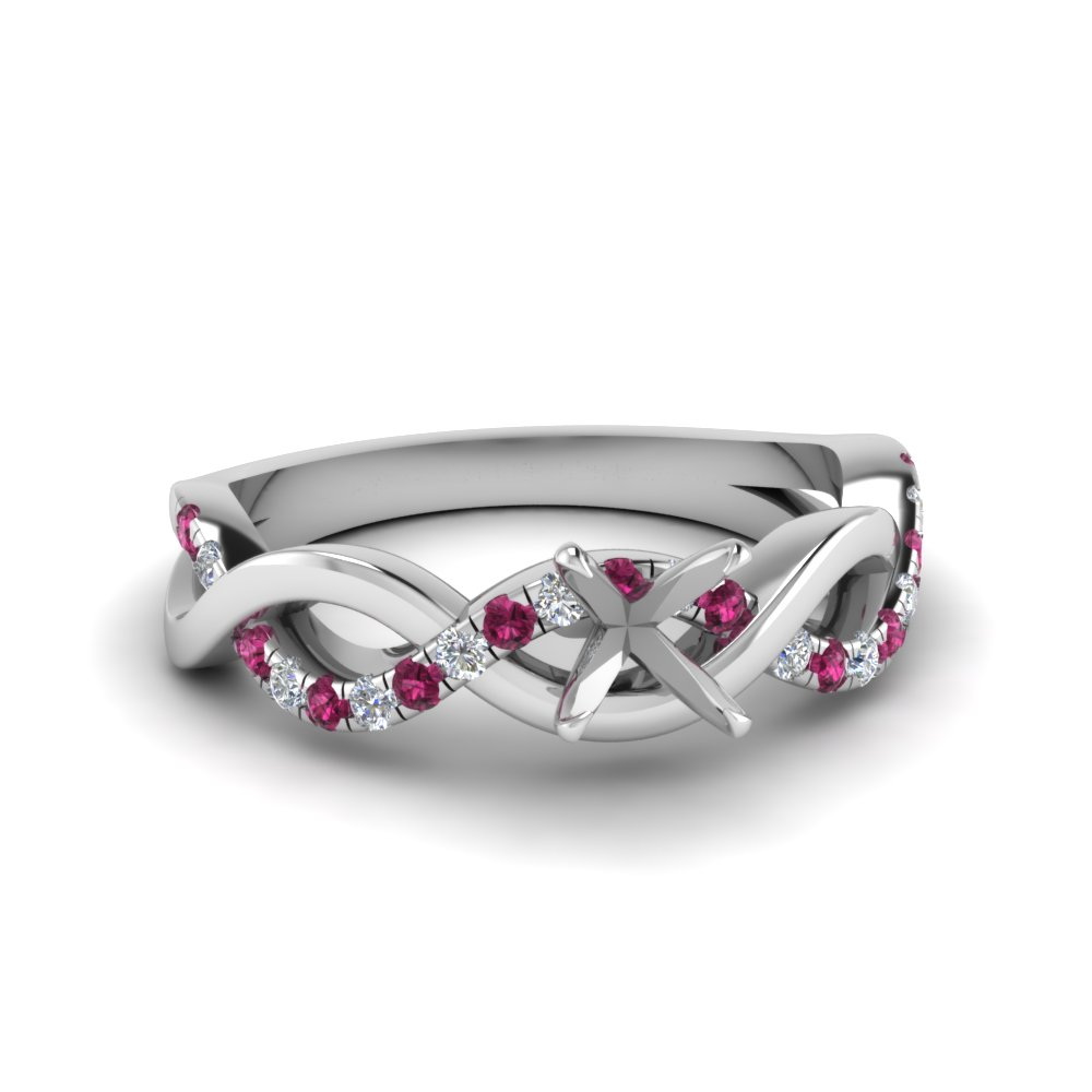 semi mount infinity diamond engagement ring with pink sapphire in FD1122SMRGSADRPI NL WG