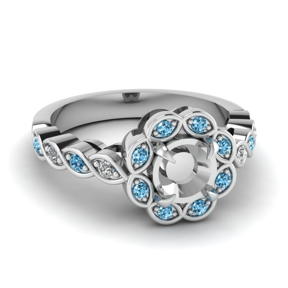 flower halo pave diamond semi mount engagement ring with blue topaz in FD1130SMRGICBLTO NL WG