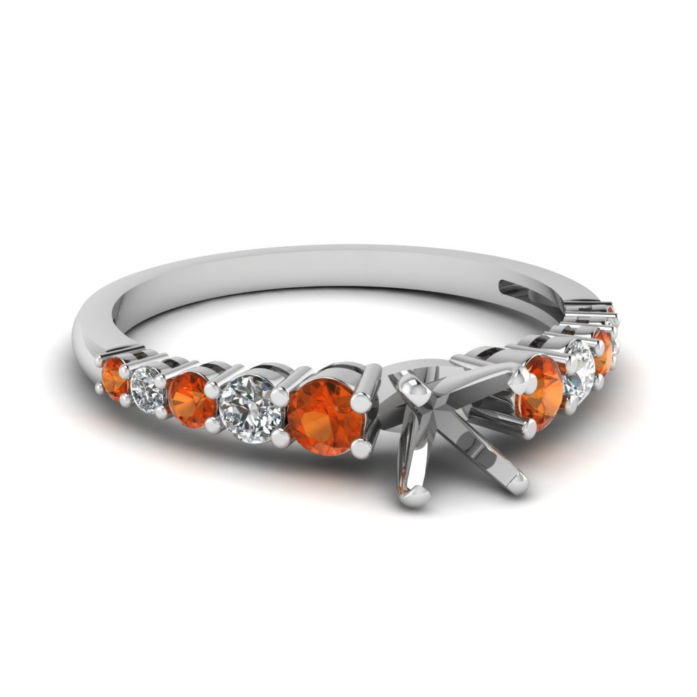 graduated semi mount diamond engagement ring with orange sapphire in FDENS3056SMRGSAOR NL WG