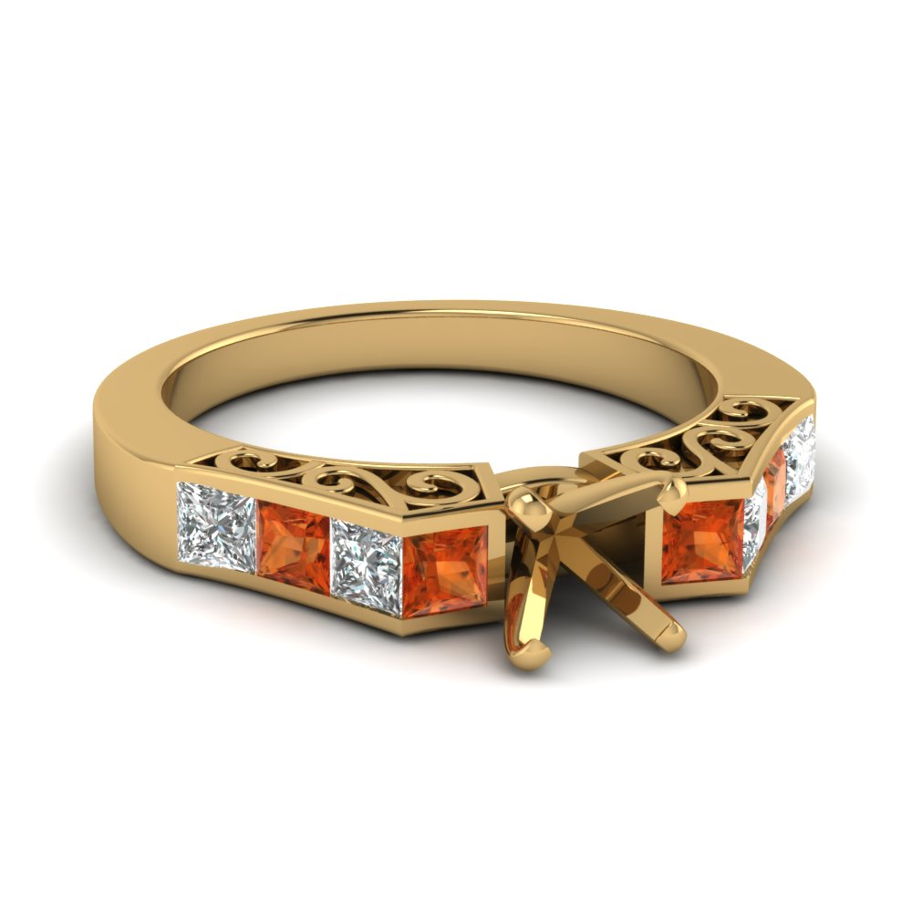 channel diamond vintage semi mount engagement ring with orange sapphire in FDENS151SMRGSAOR NL YG