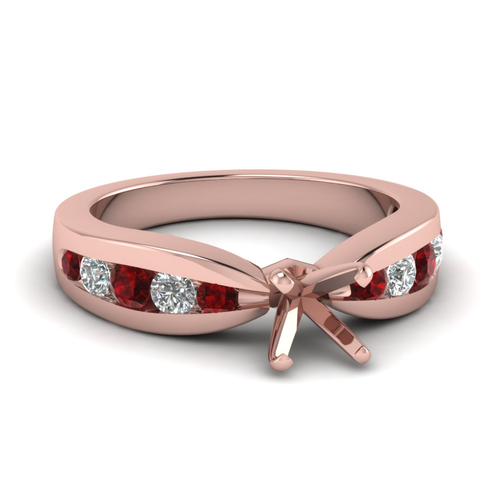 Pink Gold Engagement Ring Setting Only