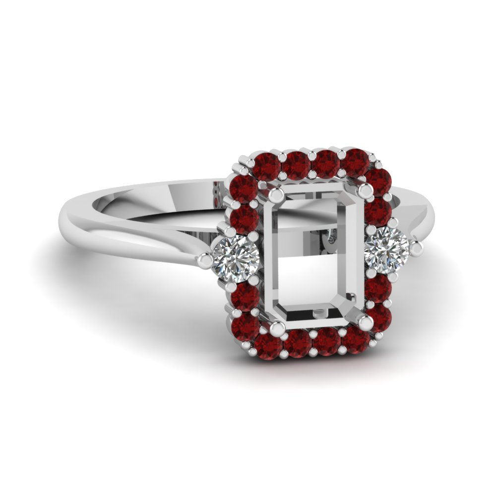 semi mount high set halo diamond engagement ring with ruby in FD1141SMRGRUDR NL WG