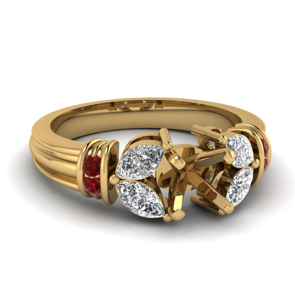 Semi Mount Ruby Diamond Ring