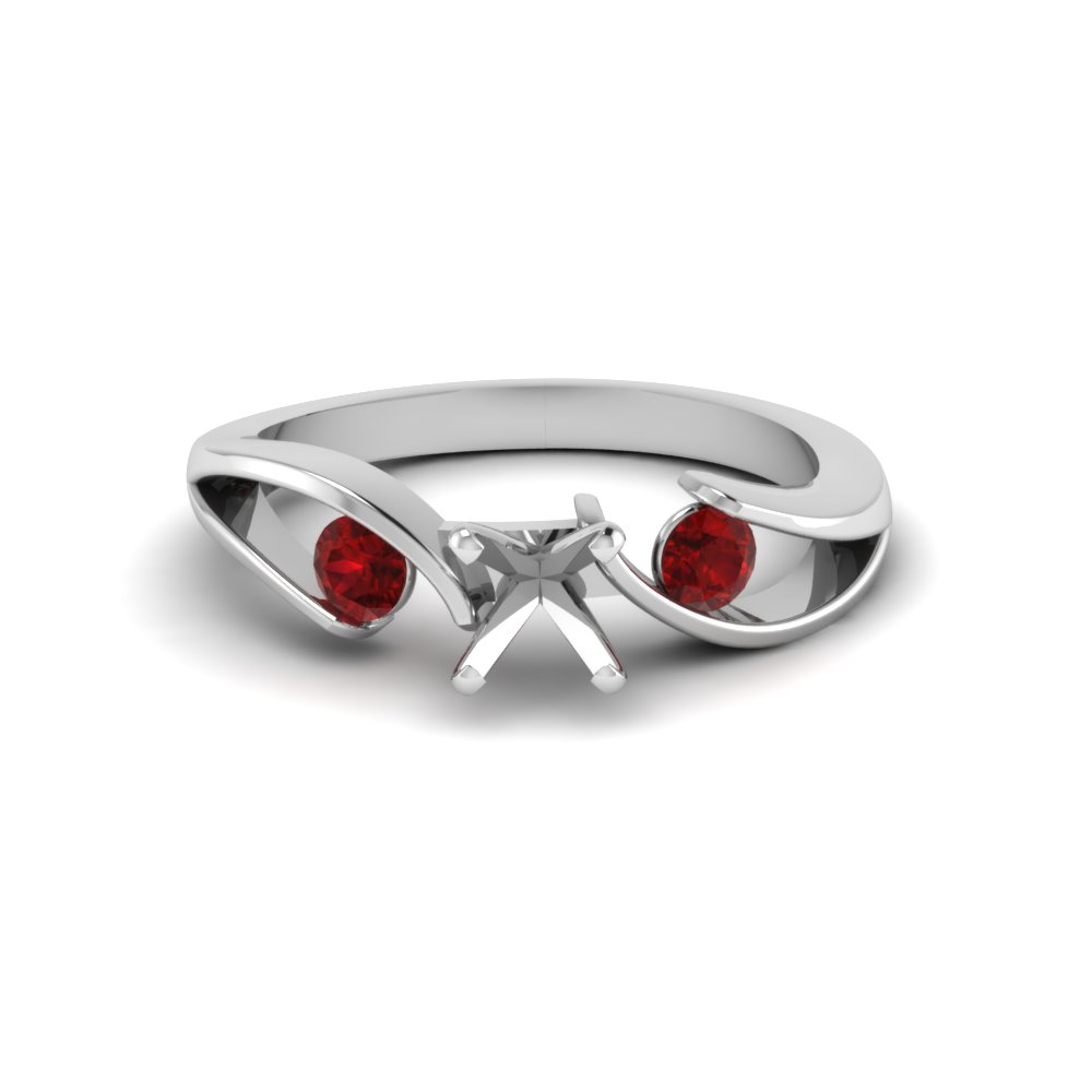 semi mount tension set 3 stone engagement ring with ruby in FDENR1140SMRGRUDRANGLE1 NL WG