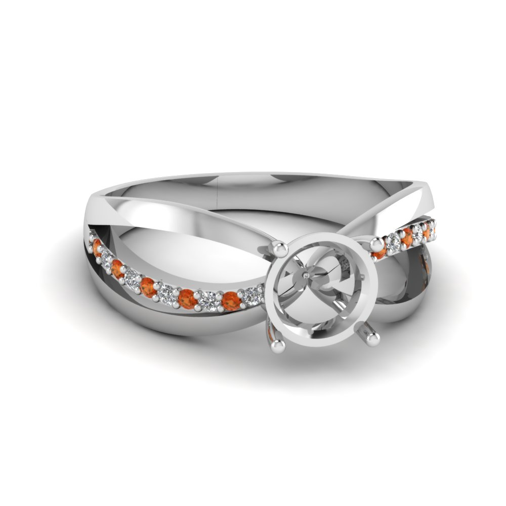 Semi Mount Inverse Split Engagement Ring With Orange Sapphire In FDENR9170SMRGSAOR NL WG